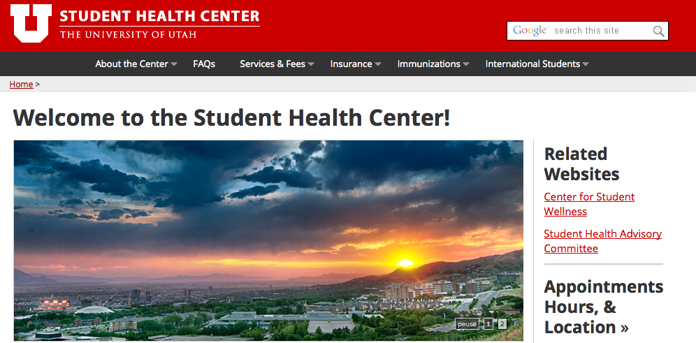 Screen shot of student health center